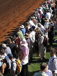Crowds line the racetrack at the Broome Races in 2009.  The race round starts in June and ends with the Broome Cup in August.