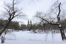 Central Park in the Wintertime overlooking the boat basin and Upper West Side