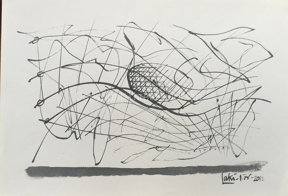 Laki Senanayake.<br /> 'Graph'. December 2014<br /> WC on paper. 20&quot; x 14&quot;