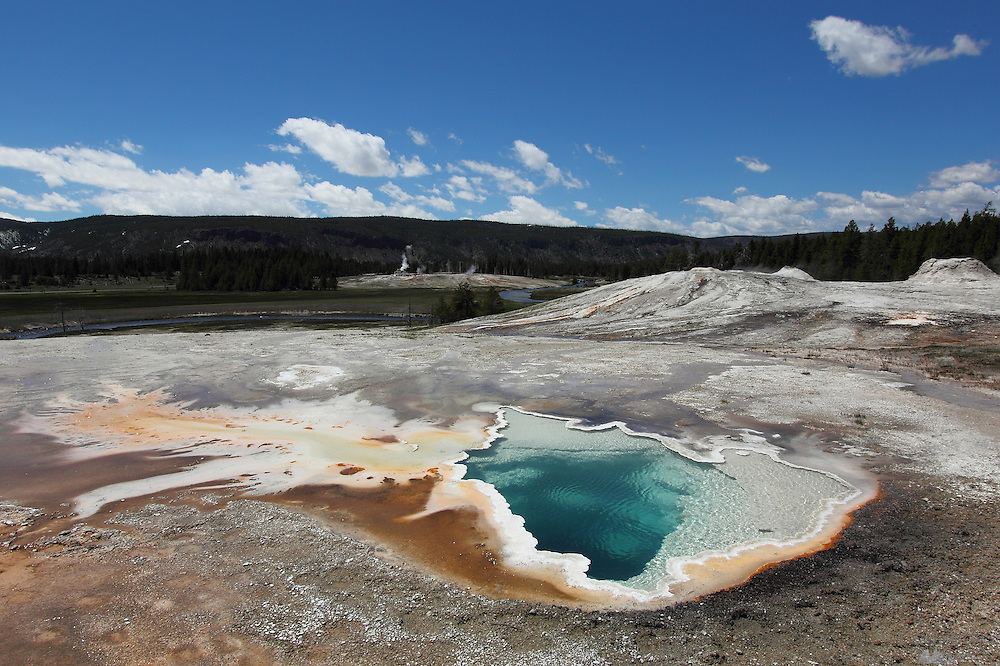 Colourful hot spring on the Upper Geyser Basin of Yellowstone National Park, Wyoming, USA