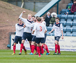 Falkirk's Mark Beck celebrates after scoring their goal.<br /> Dundee 0 v 1 Falkirk, Scottish Championship game played today at Dundee's Dens Park.<br /> &copy; Michael Schofield.