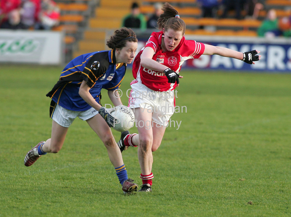 3/12/2006.Pictured in Action at the VHI Healthcare All Ireland Ladies Intermediate Club Championship Final in Nowlan Park in KIlkenny yesterday was Inch Rovers Claire Keohane (right) and Naomh Mearnóg's Meave Redmond (left)..Picture Dylan Vaughan.