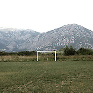 A football goal near Perast.There are several arguments about the derivation of the name  &quot;Montenegro&quot;, one of these relates to dark and deep forests  that once covered the Dinaric Alps, as it was possible to see them from the sea. <br />