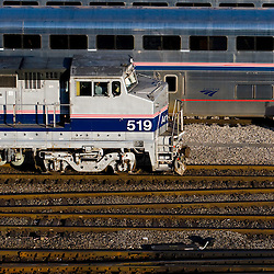 Amtrak goes about switching their large coach yard on the south side of Chicago, IL.