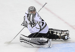 June 2; Newark, NJ, USA; Los Angeles Kings goalie Jonathan Quick (32) makes a save during the first period of the 2012 Stanley Cup Finals Game 2 at the Prudential Center.