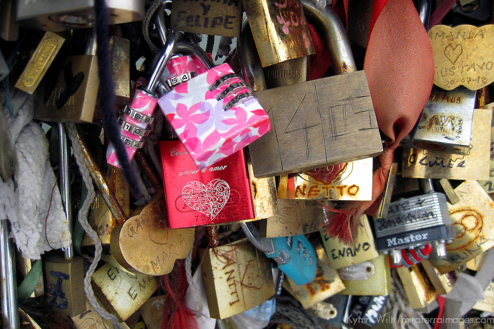 Europe, France, Paris. Love-locks on the Pont de l'Archevêché over the Seine.