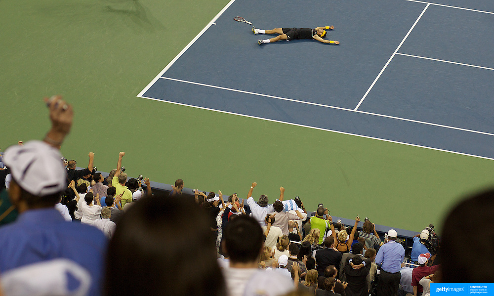 Juan Martin Del Potro, Argentina, wins the Men's Singles Final against Roger Federer, Switzerland, during the US Open Tennis Tournament at Flushing Meadows, New York, USA, on Monday, September 14, 2009. Photo Tim Clayton.