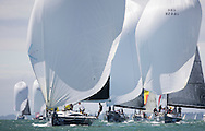 Image licensed to Lloyd Images <br /> Aberdeen Asset Management Cowes Week 2015. Day 2 of racing, picture shows NED342 &quot;COIN COIN&quot; racing downwind<br /> <br /> Credit: Lloyd Images