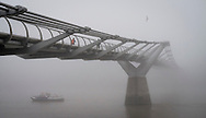 Thick Fog over The Millennium Bridge and River Thames this morning.