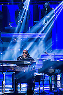 Honoree Stevie Wonder performs during the finale of the concert, Stevie Wonder: Songs In The Key Of Life - An All-Star GRAMMY Salute, at Nokia Theatre L.A. Live on February 10, 2015 in Los Angeles, California.