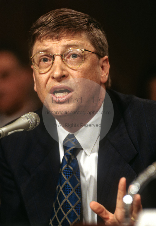 Bill Gates, CEO & founder of Microsoft testifies in Congress on Microsoft anti-trust allegations March 3, 1998 in Washington, DC.