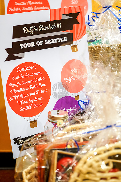 Seattle Childrens Museum 36th Birthday Celebration 2016. Raffle baskets. Photo by Alabastro Photography.