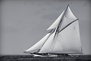 The William Fife gaff cutter Mariquita competes in the JPMorgan Asset Management Round the Island Race. Isle of Wight.<br /> Picture date: Saturday June 27, 2015.<br /> Photograph by Christopher Ison &copy;<br /> 07544044177<br /> chris@christopherison.com<br /> www.christopherison.com