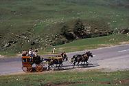 Old Mail Coach, Horsedrawn Carriage, Albula Pass Road, Alps, Graubuenden Canton, Switzerland