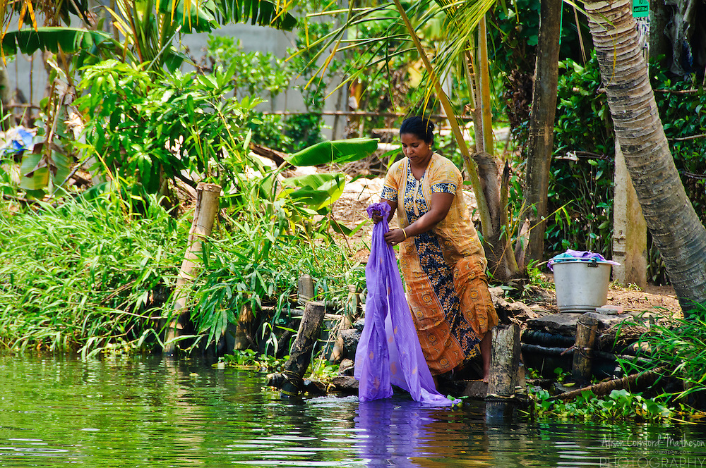 Woman washing Laundry in the Kerala Backwaters | Alison Cornford ...