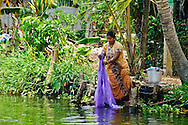 Woman washing Laundry in the Kerala Backwaters