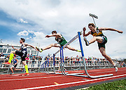 Racers leap over the hurdles during the 300m hurdles race during the 42nd annual Burlington Invitational track and field meet at Burlington High School on Saturday May 10, 2014 in Burlington, Vermont. (BRIAN JENKINS, for the Free Press)