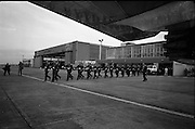 President Eamon De Valera and Irish Cadets leave for President Kennedy's funeral in Washington.  Irish Cadets carry their rifles to board the flight.<br /> 24.11.1963