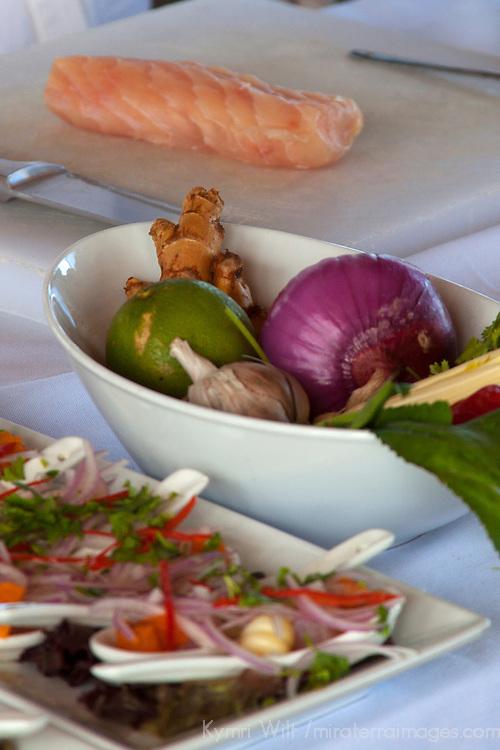 South America, Peru. Raw ingredients for preparing Peruvian Ceviche.