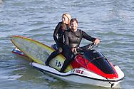 Ryan Seelbach on a jet ski between heats at the 2010 Mavericks Surf Contest - Half Moon Bay, California