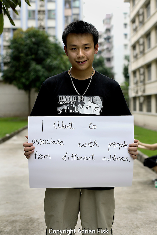 Ray Chuang - 20 Yrs.<br /> Student of economic trading.<br /> Guangdong Province.<br /> <br /> 'I want to associate with people from different cultures'.