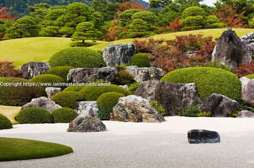 Traditional Japanese garden at Adachi art museum in Honshu Japan