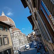 A balcony view of the Duomo down Via de Proconsolo, Florence, Italy