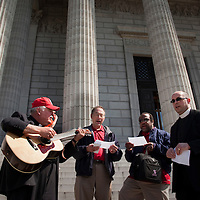 LISA JOHNSTON | lisajohnston@archstl.org Singing a song he wrote for the ProLife movement, retired Lutheran Church of the Missouri Synod Minister, Rev. Fred Baue strummed his guitar while Rev. Kevin Golden, Rev. Warren Woerth and Rev. Wayne Lawrence  sange on the front of the Missouri State Capitol.