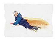 Girl with sledge, Scotland