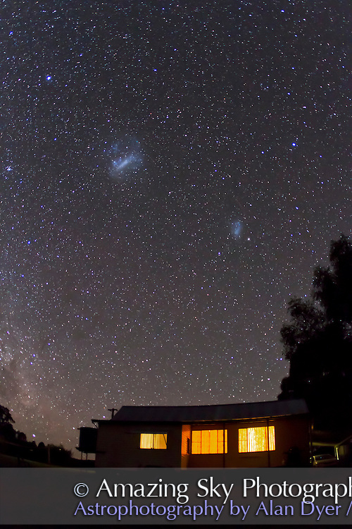 Magellanic Clouds over Timor Cottage, near Coonabarabran, NSW, Australia, December 11, 2010. Taken with Canon 7D camera and 15mm  lens at f/2.8, for 40 seconds at ISO 3200.