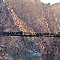 First light and the Packers, using the black bridge, leave the North Kaibab to ascend the South Kaibab with the US Mail, packs and garbage from Phantom Ranch.