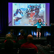 """Professor Deborah Nieding speaks at the first Zag Talk about """"The Power of Risk"""" at the W Hotel in Seattle on Gonzaga Day, Feb 13, 2016. (Photo by Erika Schultz)"""