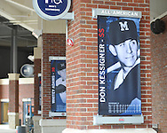 Banners of Ole Miss All-American baseball players at Oxford-University Stadium in Oxford, Miss. on Monday, February 11, 2013. 17 banners are being erected and signage in the stadium is being updated.