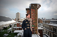 Tristram Stuart, author of 'Waste: Uncovering the Global Food Scandal', on the roof garden to his office, at a local vegetable patch he helped start, and in his office in Dalston in London, Britain.