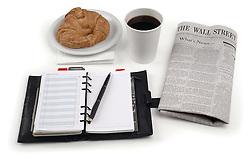 coffee danish paper planner on white
