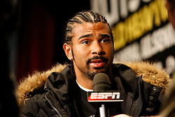 Apr 23, 2009; New York, NY, USA; David Haye speaks at the press conference announcing his upcoming fight against IBF, WBO and IBO World Heavyweight Champion Wladimir Klitschko.  The two will meet on June 20, 2009 at Veltins-Arena Soccer Stadium in Schalke, Germany.