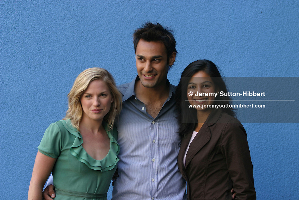 """Photocall for Ken Loach new movie """"Ae Fond Kiss"""", at Edinburgh International Film Festival.  Actresses Eva Birthwhistle (on left), Shabana Bakhsh (on right) and actor Atta Yaqub (centre).(20 pictures, non-exclusive)"""