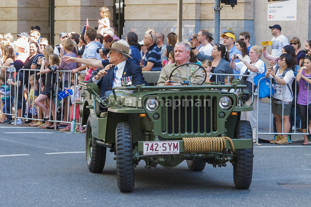 Veterans in jeep in Brisbane 2013 ANZAC day parade