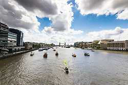 London Bridge, London, June 15th 2016. A flotilla of fishing boats led by UKIP's Nigel Farage heads through Tower Bridge in protest against the EU's Common Fisheries Policy and in support of Britain leaving the EU. PICTURED: