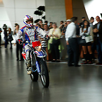 Europe; Germany, Munich. Motorcycle stunt rider at the BMW Welt Museum and Plant.