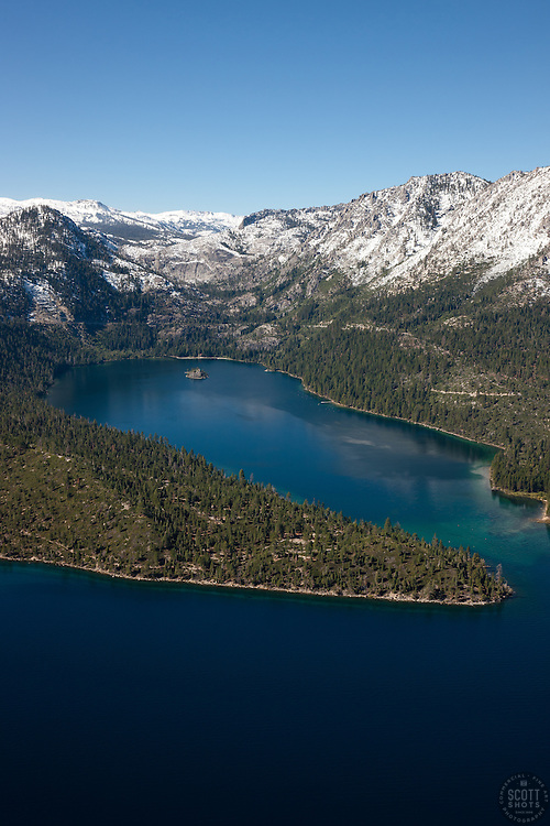 """Emerald Bay, Lake Tahoe Aerial 7"" - Photograph of Emerald Bay in Lake Tahoe, shot from an amphibious seaplane with the door removed."