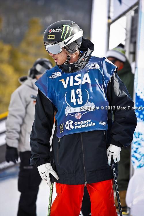 SHOT 12/19/13 1:40:43 PM - French skier Kevin Rolland gets ready to compete in the Men's Ski Halfpipe Qualifiers at the U.S. Snowboarding and Freeskiing Grand Prix on December 19, 2013 at Copper Mountain, Colorado.<br /> (Photo by Marc Piscotty / &copy; 2013)