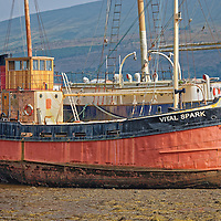 Vital Spark in Inveraray Pier at low tide, Scotland, UK