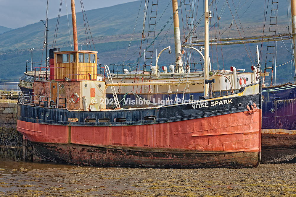 Vital Spark in Inveraray Pier at low tide, Scotland, UK