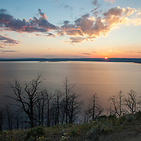 Yellowstone Lake at sunset from Lake Butte Overlook