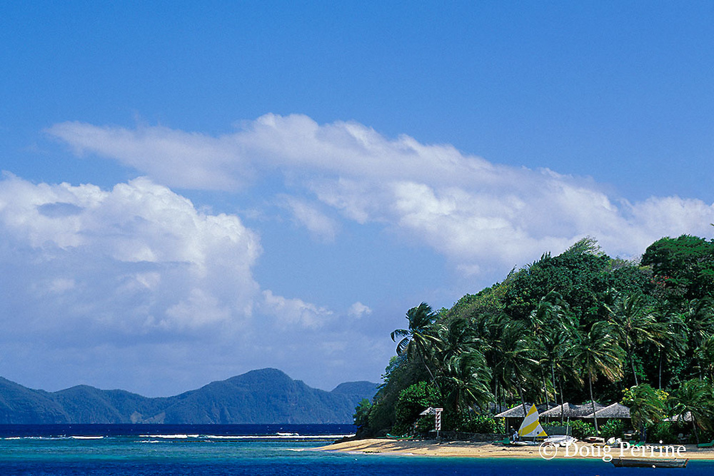 Young Island, with Bequia in background, Saint Vincent,  St. Vincent & the Grenadines, West Indies ( Eastern Caribbean Sea )