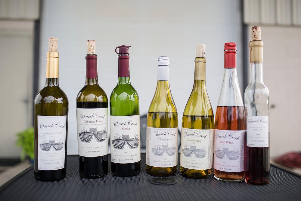 MACHIPONGO, VA - JUNE 22: The wines of Chatham Vineyards are pictured on Sunday, June 22nd, 2014 near Machipongo, Va. (Photo by Jay Westcott/For The Washington Post)