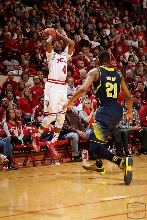 Indiana guard Robert Johnson (4) as Michigan played Indiana in an NCCA college basketball game in Bloomington, Ind., Sunday, Feb. 8, 2015. (AJ Mast / Photo))