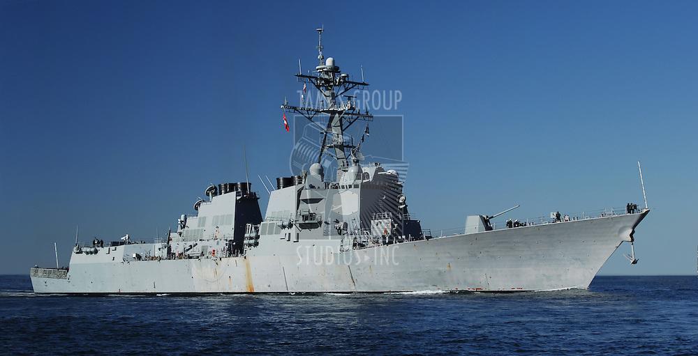 US Navy DDG 51 AEGIS class Destroyer at sea