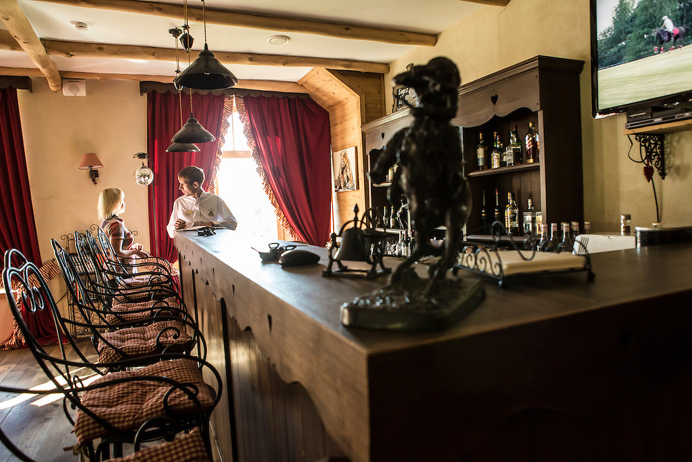 A bar for guests at Potapovo Farm on Sunday, August 18, 2013 in Potapovo, Russia.